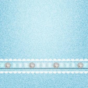 Patrón de textura de jeans y pedrería