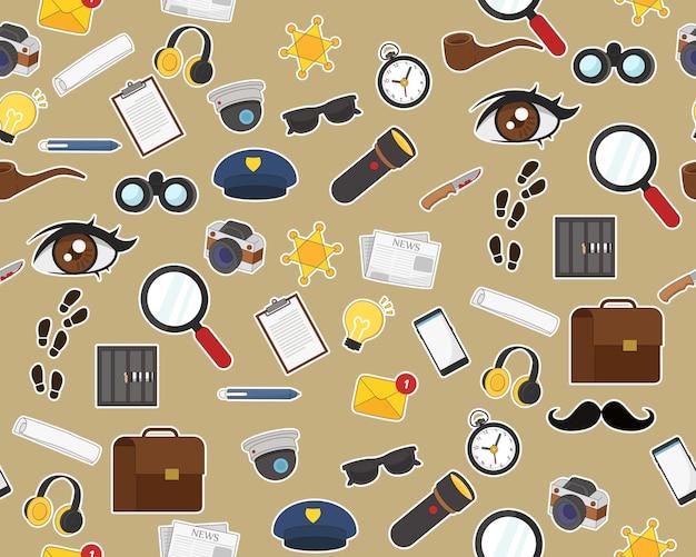 Patrón de textura plana sin costuras detective story