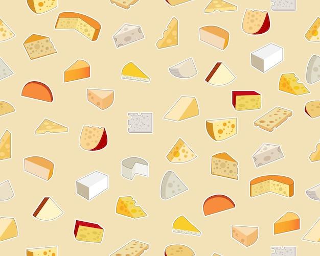 Patrón de textura plana transparente de vector queso