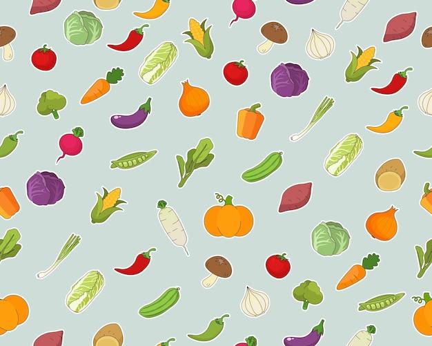 Patrón de textura plana transparente de vector verduras frescas.