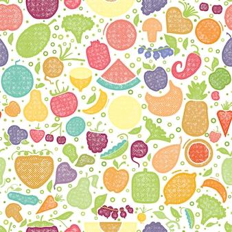 Patrón texturizado de frutas y verduras.