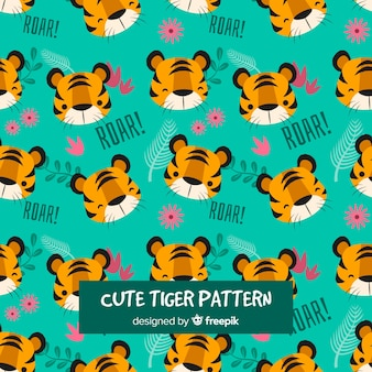 Patrón de tigre adorable con diseño plano