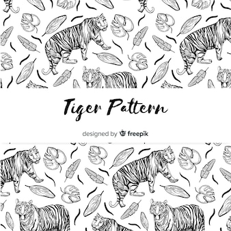 Patrón tigre con hojas