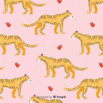 Patrón de tigres dibujados a mano.