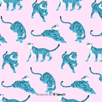 Patrón tigres estilo dibujado a mano