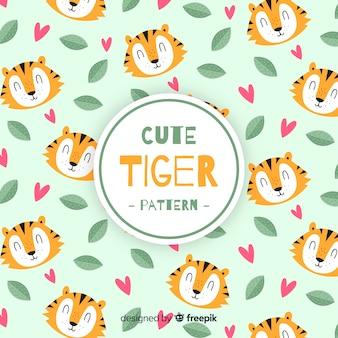 Patrón tigres, hojas y corazones