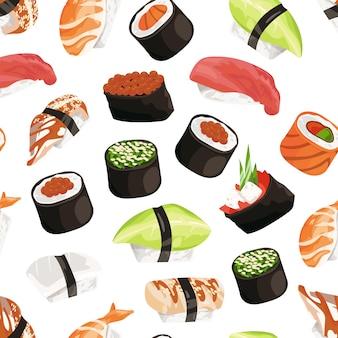 Patrón de tipos de sushi de dibujos animados