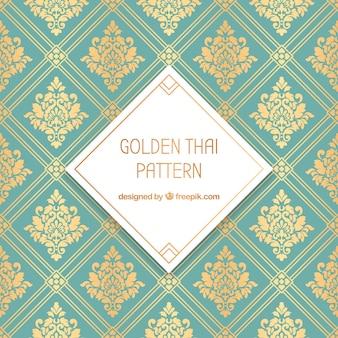 Patrón tradicional tailandés con estilo dorado