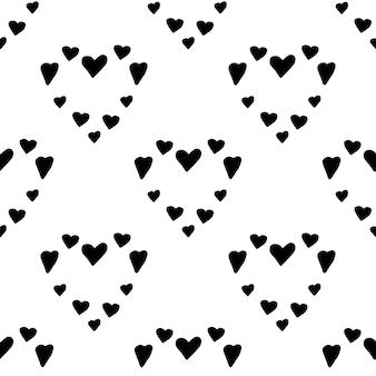 Patrón de trandy nórdico absctract con corazones en estilo escandinavo moderno en estilo doodle vectorial