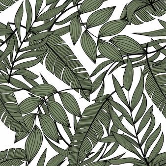 Patrón transparente abstracto brillante con coloridas hojas tropicales y plantas en la luz