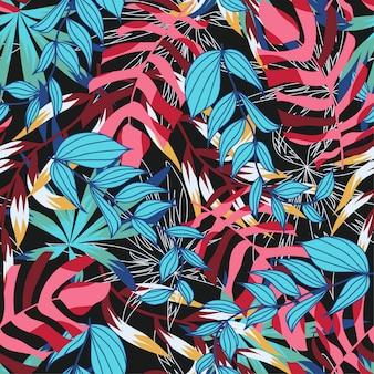 Patrón transparente abstracto brillante con coloridas hojas tropicales y plantas en la oscuridad