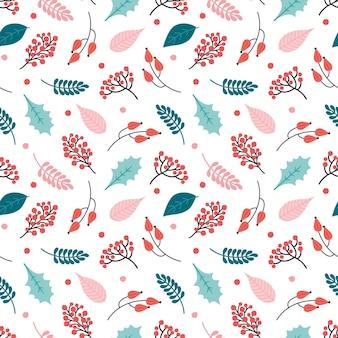 Patrón transparente abstracto de invierno. bayas rojas festivas, las hojas del acebo, rowan