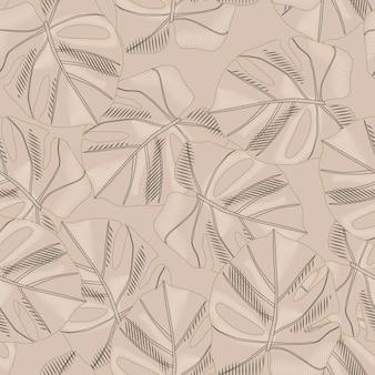 Patrón transparente abstracto paleta beige con adorno monstera.