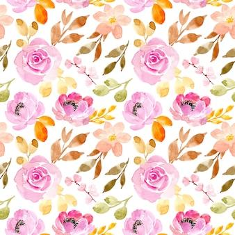 Patrón transparente acuarela flor rosa suave