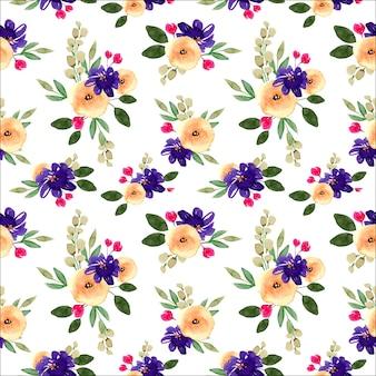 Patrón transparente acuarela floral amarillo y azul primavera