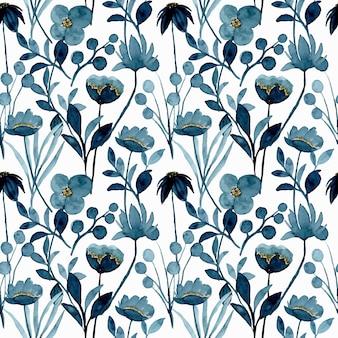 Patrón transparente acuarela floral azul índigo