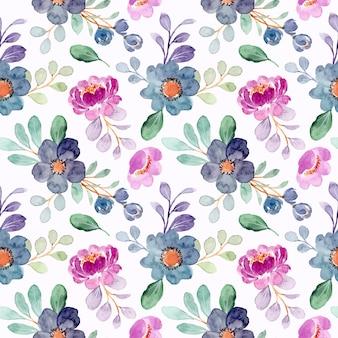 Patrón transparente acuarela floral azul púrpura