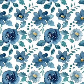 Patrón transparente acuarela floral azul