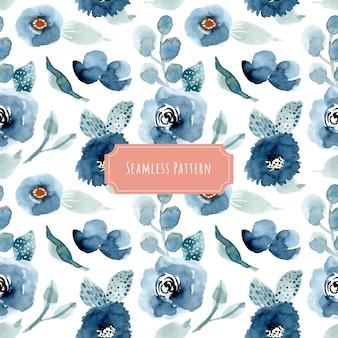 Patrón transparente acuarela floral bastante azul