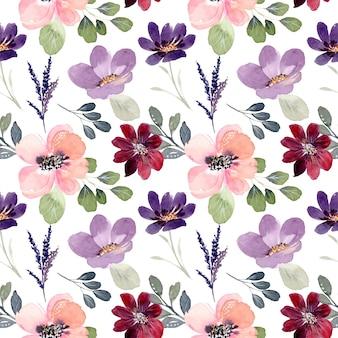 Patrón transparente acuarela floral colorido