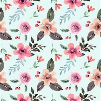 Patrón transparente acuarela floral cremoso rosa suave