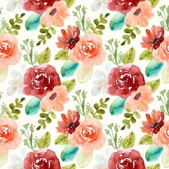 Patrón transparente acuarela floral hermoso
