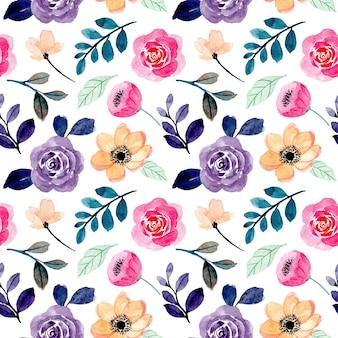 Patrón transparente acuarela floral melocotón rosa púrpura