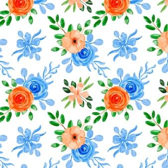 Patrón transparente acuarela floral naranja azul