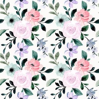 Patrón transparente acuarela floral púrpura rosa suave