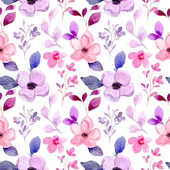 Patrón transparente acuarela floral púrpura rosa