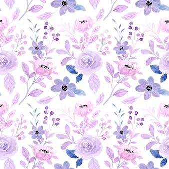 Patrón transparente acuarela floral púrpura suave