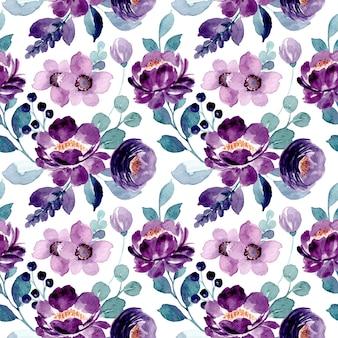 Patrón transparente acuarela floral púrpura