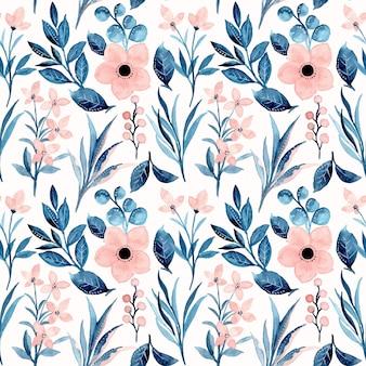 Patrón transparente acuarela floral rosa azul