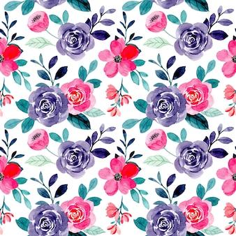Patrón transparente acuarela floral rosa púrpura