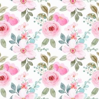 Patrón transparente acuarela floral rosa