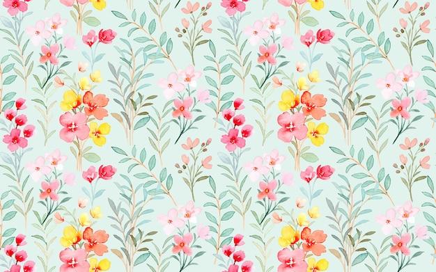 Patrón transparente acuarela floral salvaje colorido