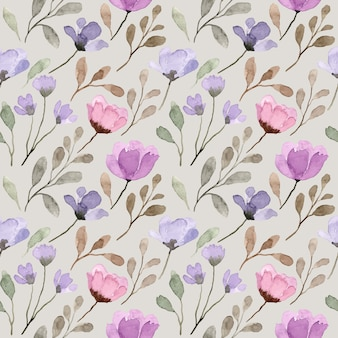 Patrón transparente acuarela floral salvaje púrpura