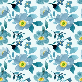 Patrón transparente acuarela floral verde azul