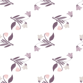 Patrón transparente aislado con adorno de ramo de flores de bosque púrpura pastel