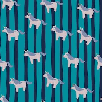 Patrón transparente aleatorio con elementos de doodle unicornio azul.