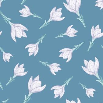 Patrón transparente aleatorio con elementos de flor de azafrán de luz simple.
