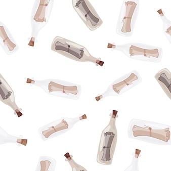 Patrón transparente aleatorio con letras beige y formas de botella de vidrio azul. impresión aislada. fondo blanco. diseñado para diseño de tela, estampado textil, envoltura, funda. ilustración vectorial.