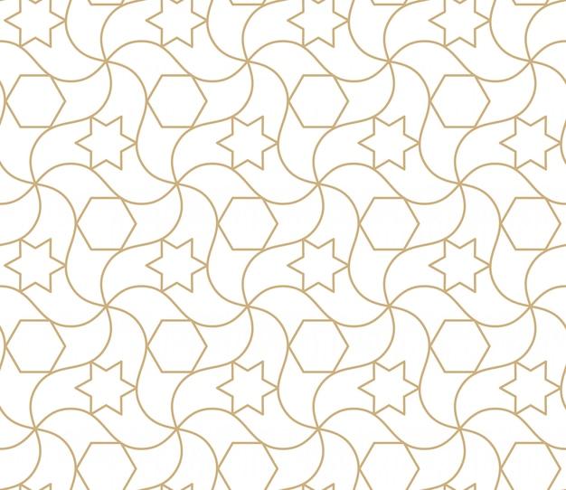 Patrón transparente árabe fondo abstracto geométrico islámico, papel tapiz asiático damasco. textura repetitiva de oro marroquí antiguo