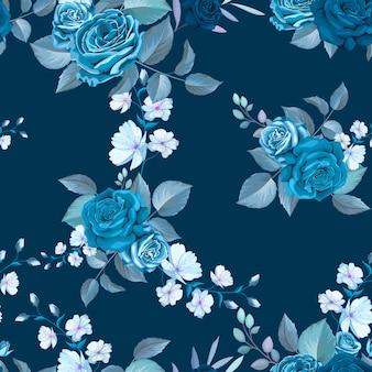 Patrón transparente azul clásico con flores