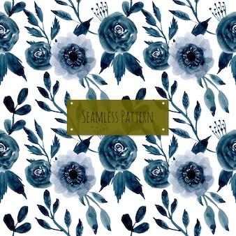 Patrón transparente azul flor acuarela