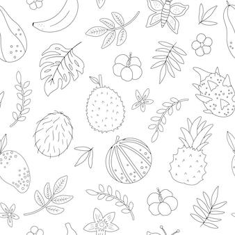 Patrón transparente blanco y negro tropical con flores y hojas de frutas