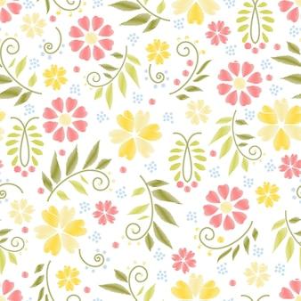 Patrón transparente de bordado de flores con flores de colores