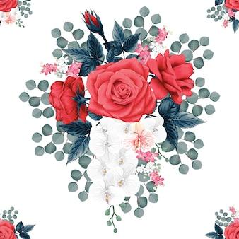 Patrón transparente botánica hermosa rosa roja y flores de orquídeas aislado fondo blanco.