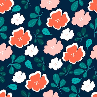 Patrón transparente botánico con hojas verdes y flores rosadas