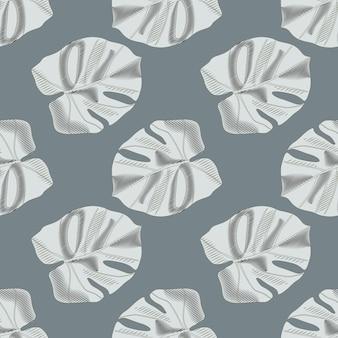 Patrón transparente botánico minimalista con adorno de hoja de monstera. fondo azul marino pálido. follaje de palma gris.